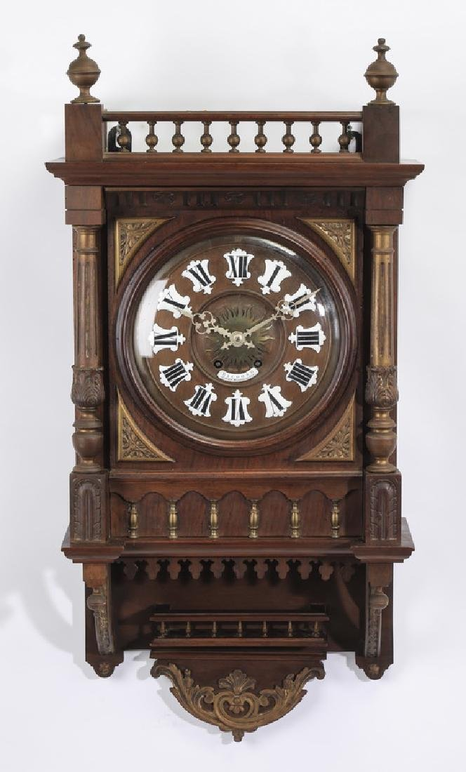 Late 19th c. French carved walnut wall clock