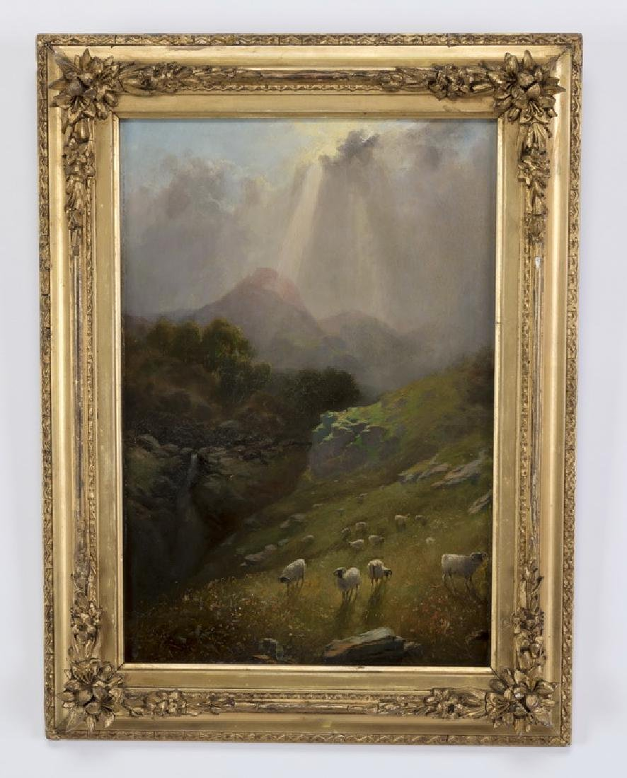 In the Manner of Bierstadt O/panel mountain scene