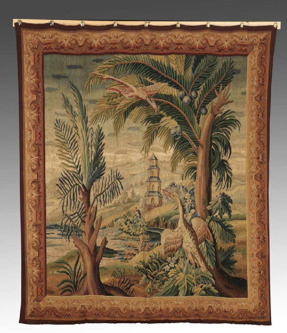 "19th c. Continental hand woven tapestry, 85""h"