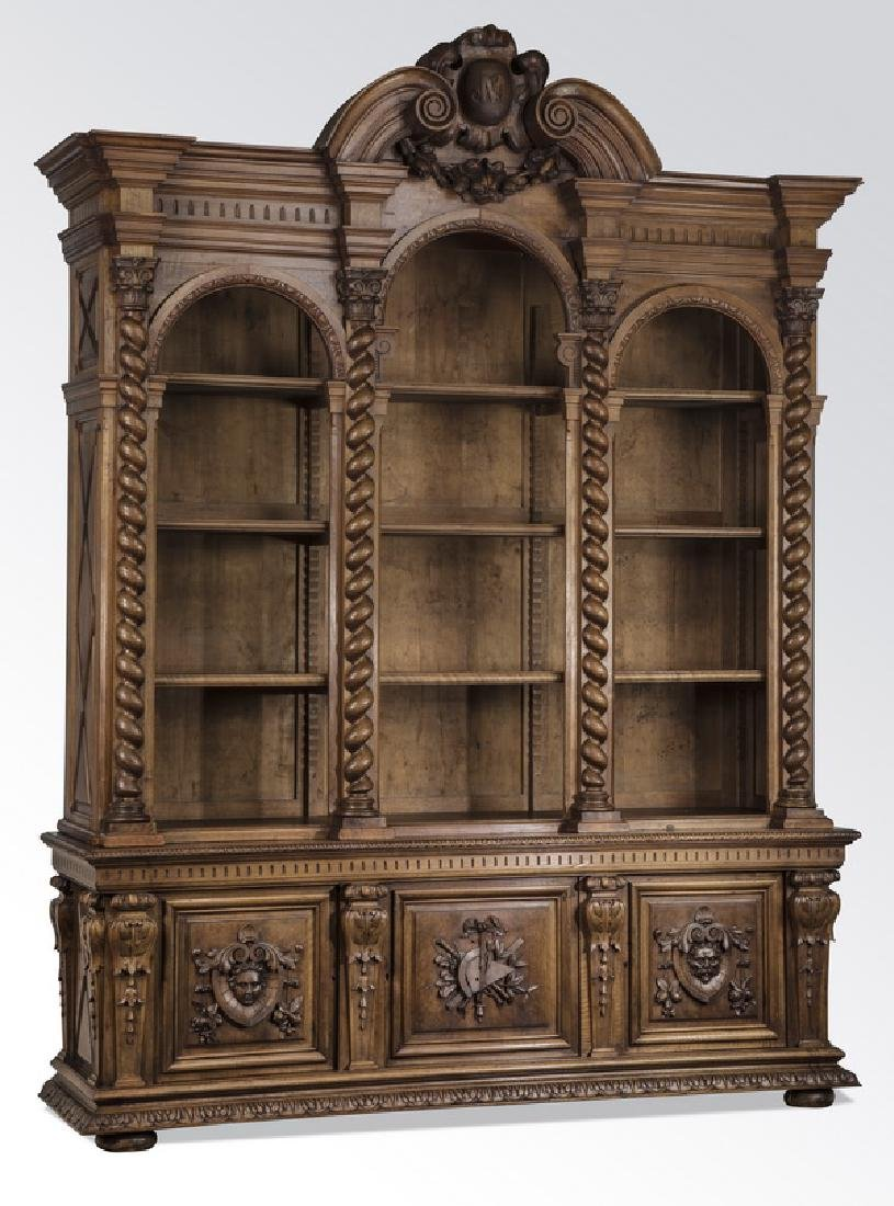 "19th c. French carved walnut bookcase, 108""h"