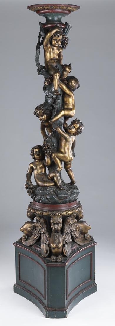 Italian carved figural polychrome pedestal with putti