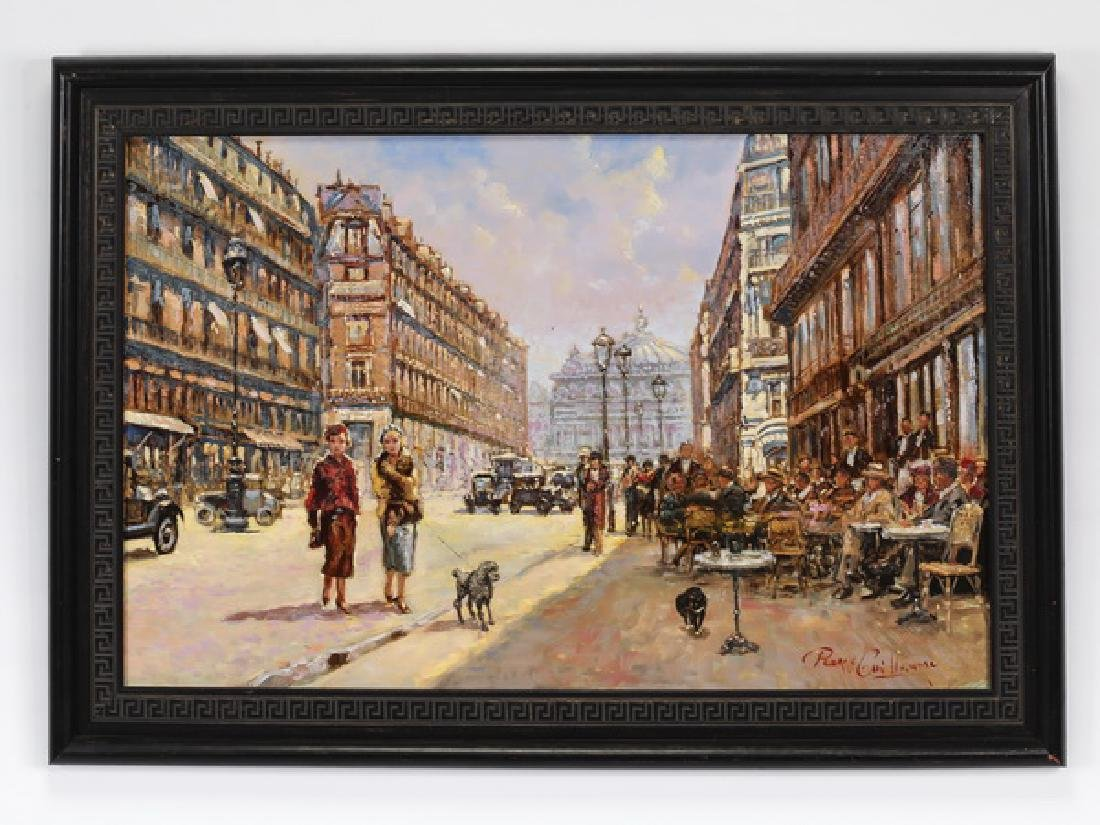 P. Guillaume signed O/board of 1920's Paris scene