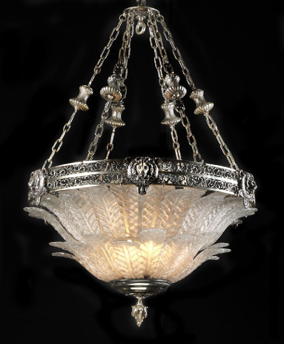 Art Deco style silvered bronze & glass chandelier
