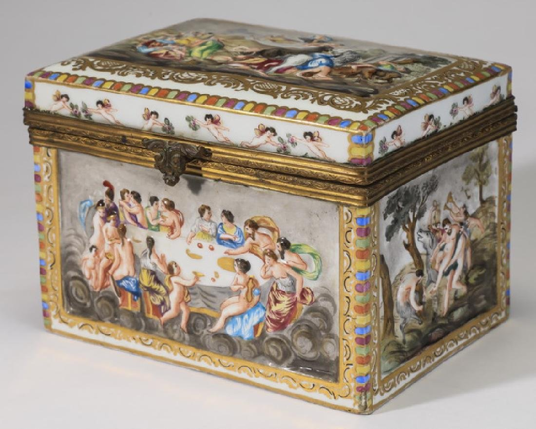 Early 20th c. Capodimonte porcelain box, marked