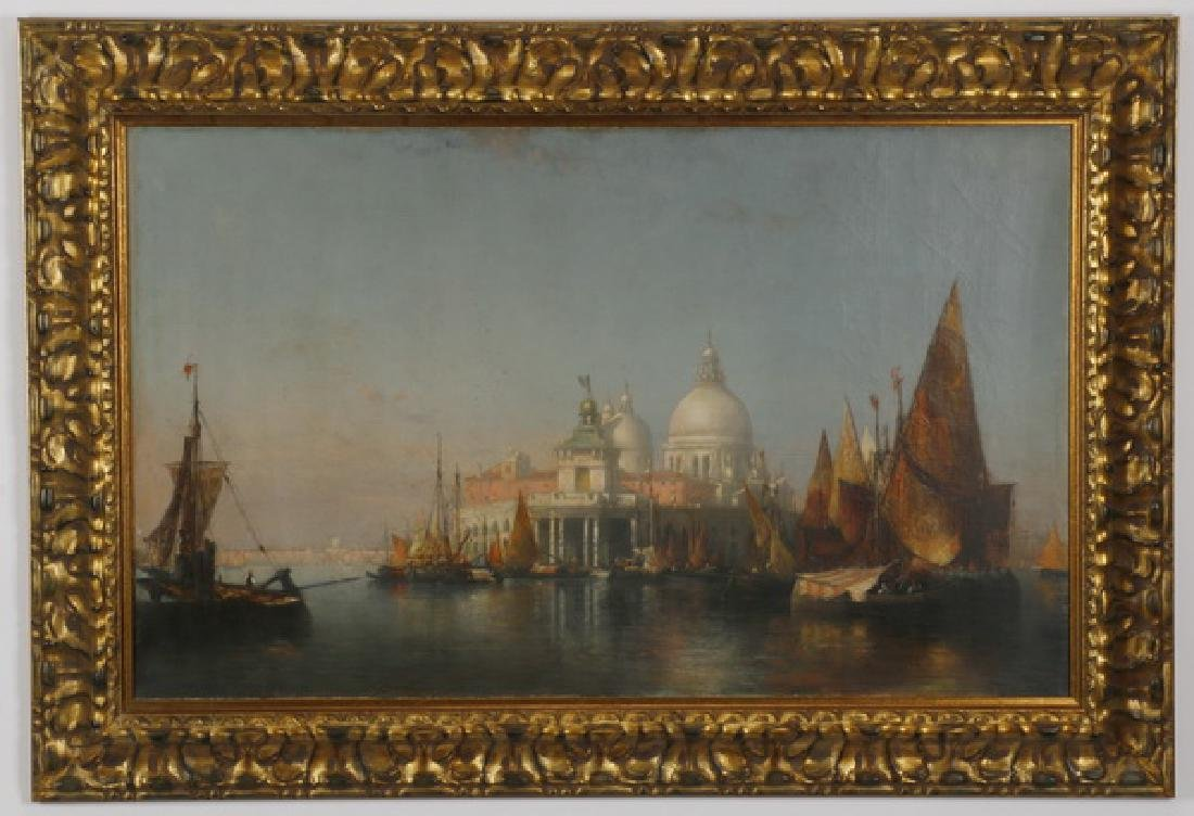 Thaddeus Defress signed O/c Venice scene, 19th c.