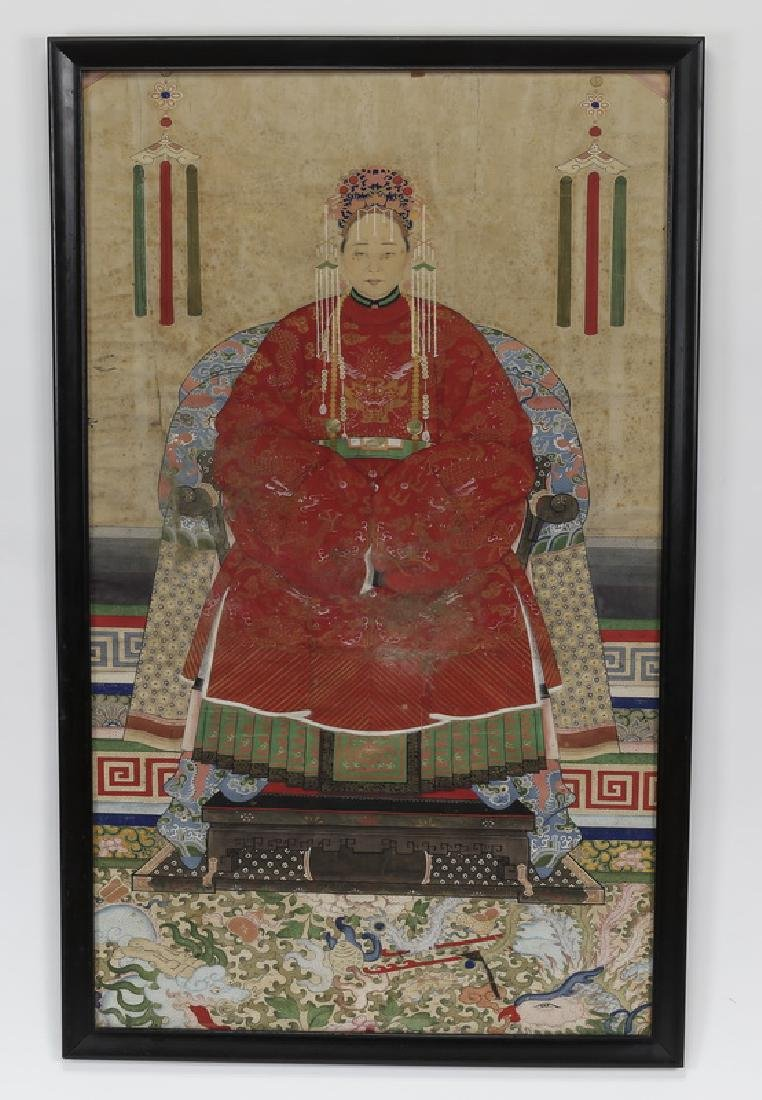"Finely painted Chinese portrait of an Empress, 47""h"
