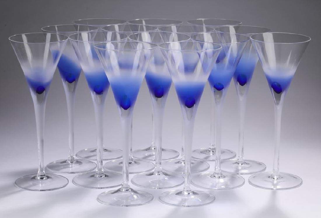 """(14) Block crystal 'Rainy Day' champagne flutes, 10""""h"""