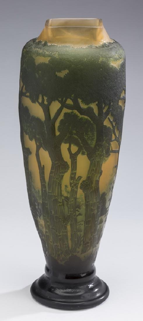 """Galle style emerald & yellow cameo glass vase, 17""""h"""