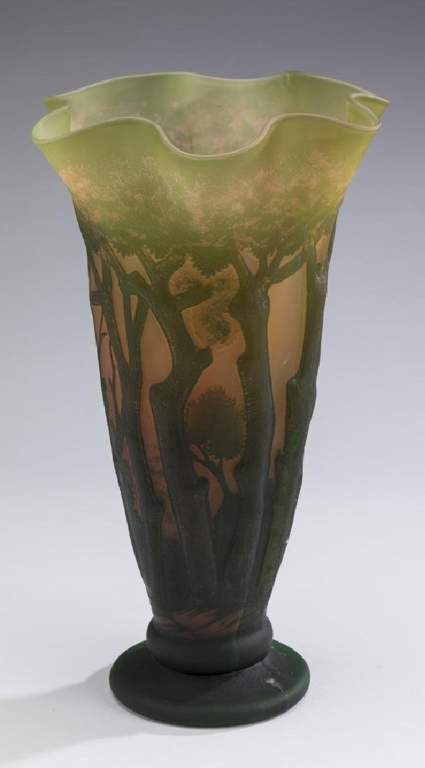 """Galle style green & peach cameo glass vase, 15""""h"""