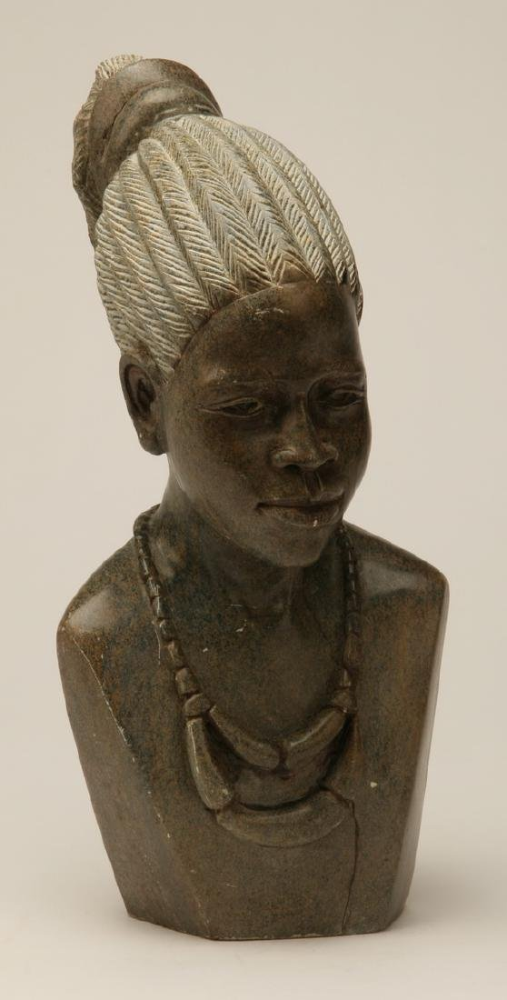 Hand carved marble bust of an African woman