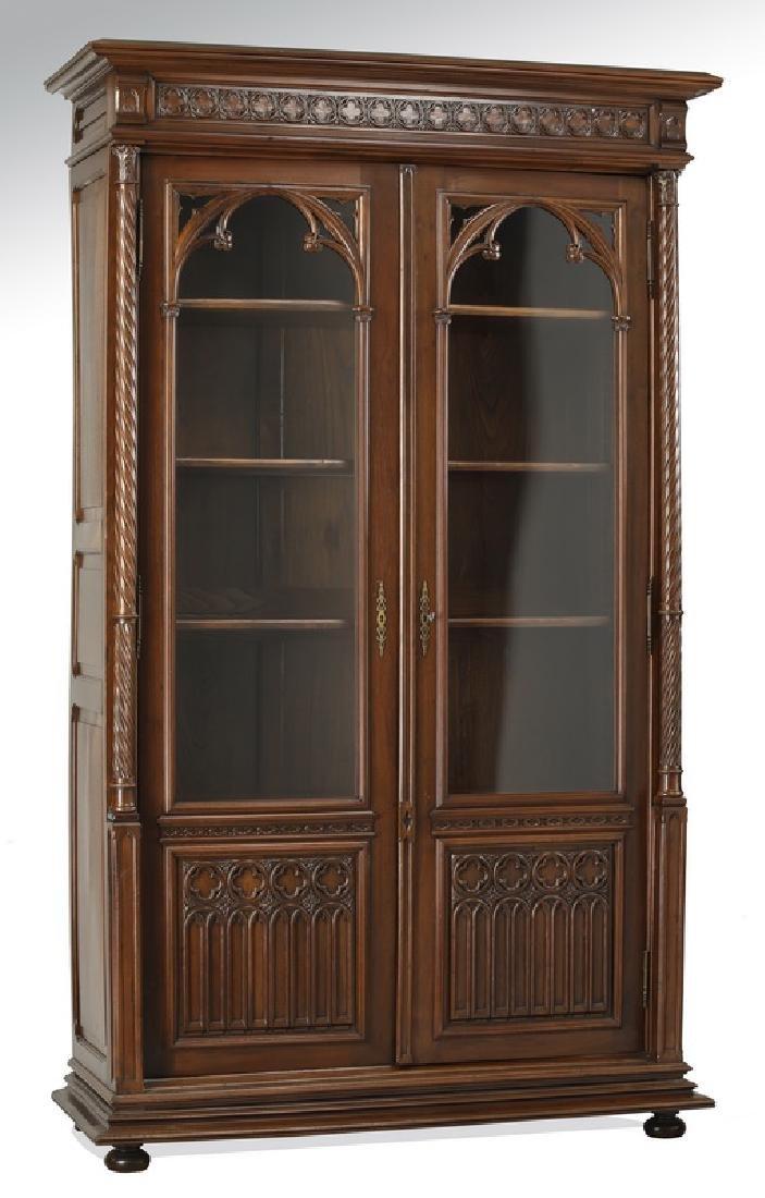 "19th c. Gothic Revival walnut bookcase, 102""h"