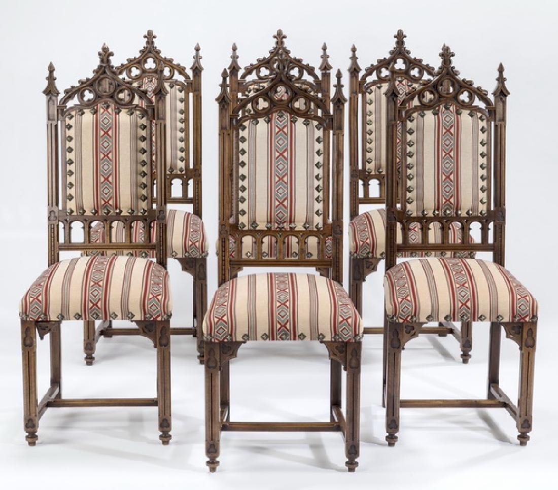 (6) 19th c. French Gothic Revival walnut side chairs