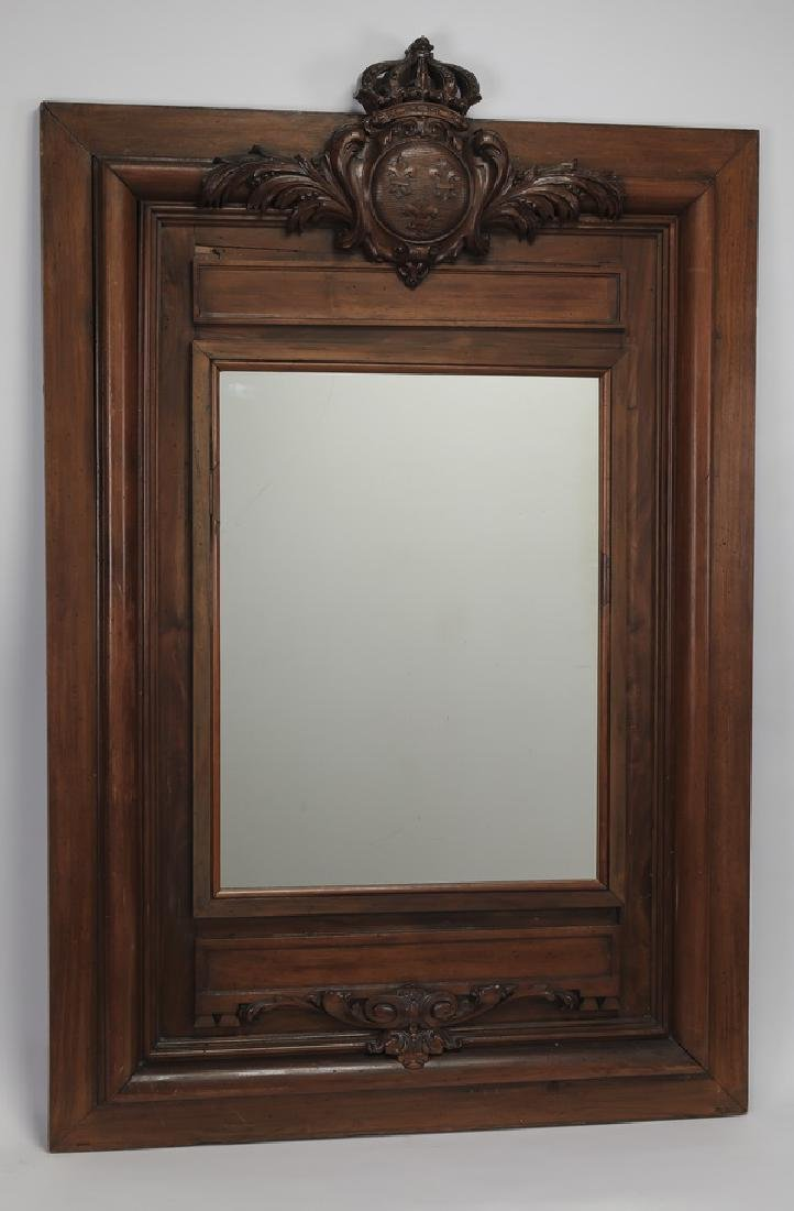 19th c. carved walnut mirror with royal crown crest