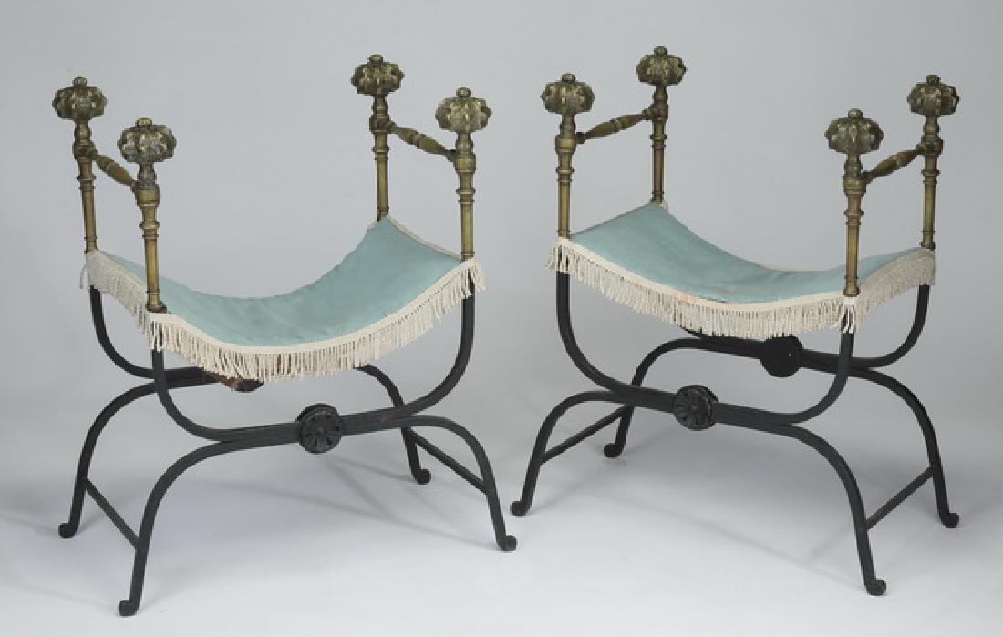 (2) Italian Savonarola style benches