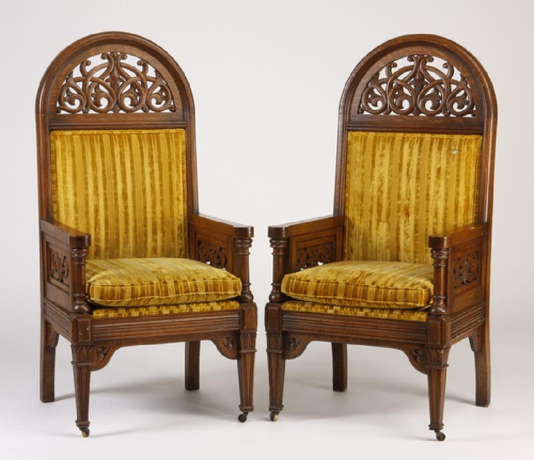 (2) 19th c. Gothic Revival carved oak armchairs