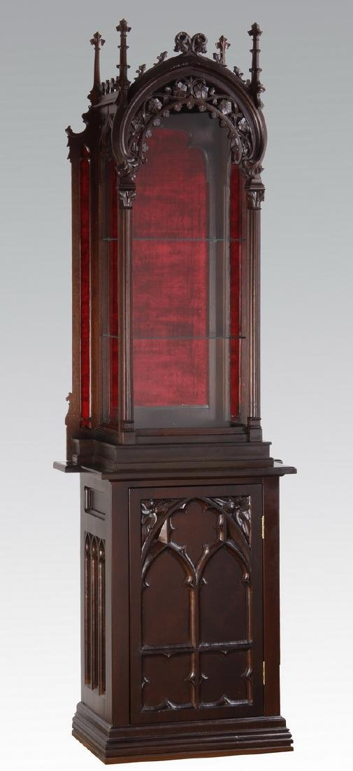 19th c. Gothic Revival walnut vitrine