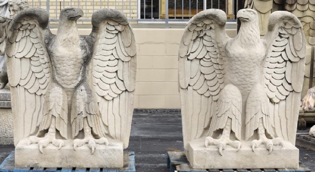 (2) Impressive American limestone eagle sculptures