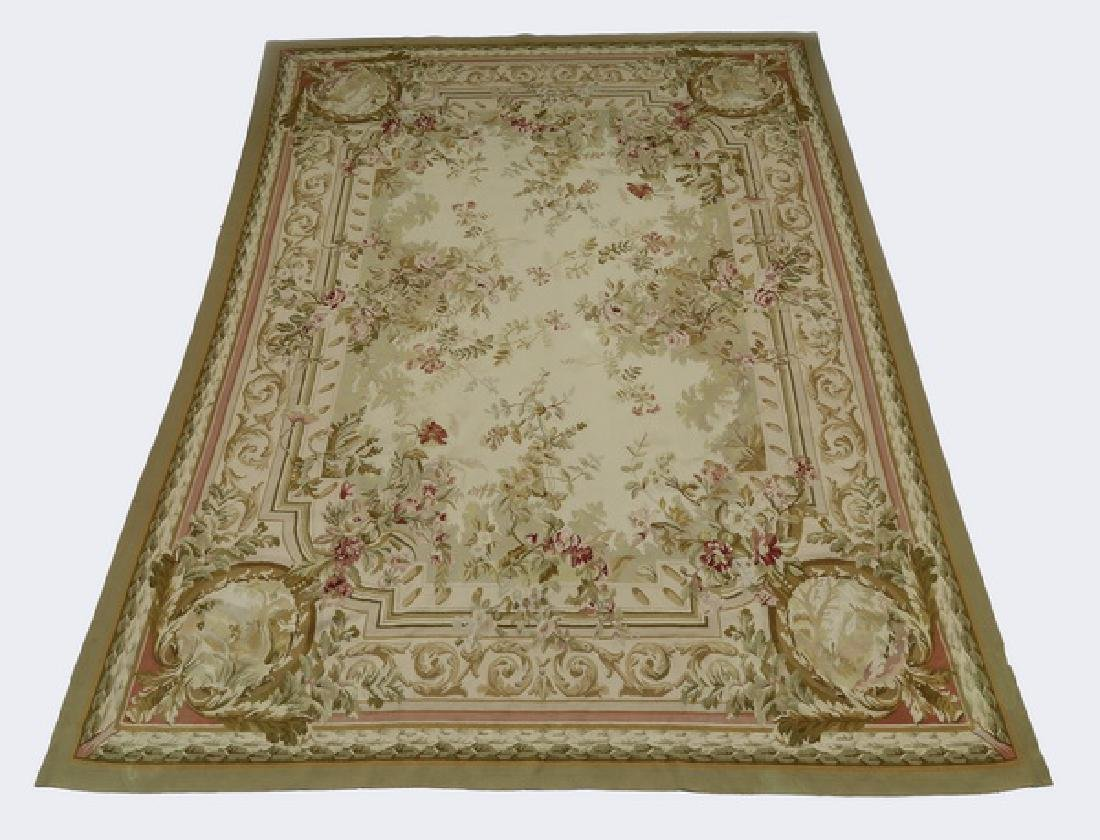 Aubusson style hand woven wool rug, 12 x 9