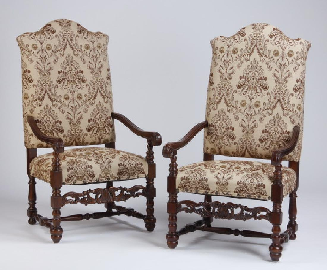 """(2) Carved mahogany armchairs, 52""""h"""