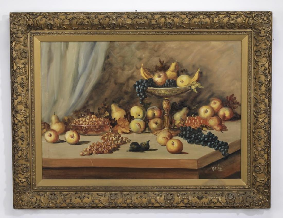 Early 20th c. Italian O/masonite of fruit still life