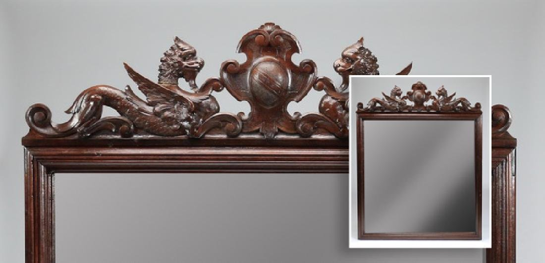 "19th c. Italian oak overmantel mirror w/crest, 68""h"