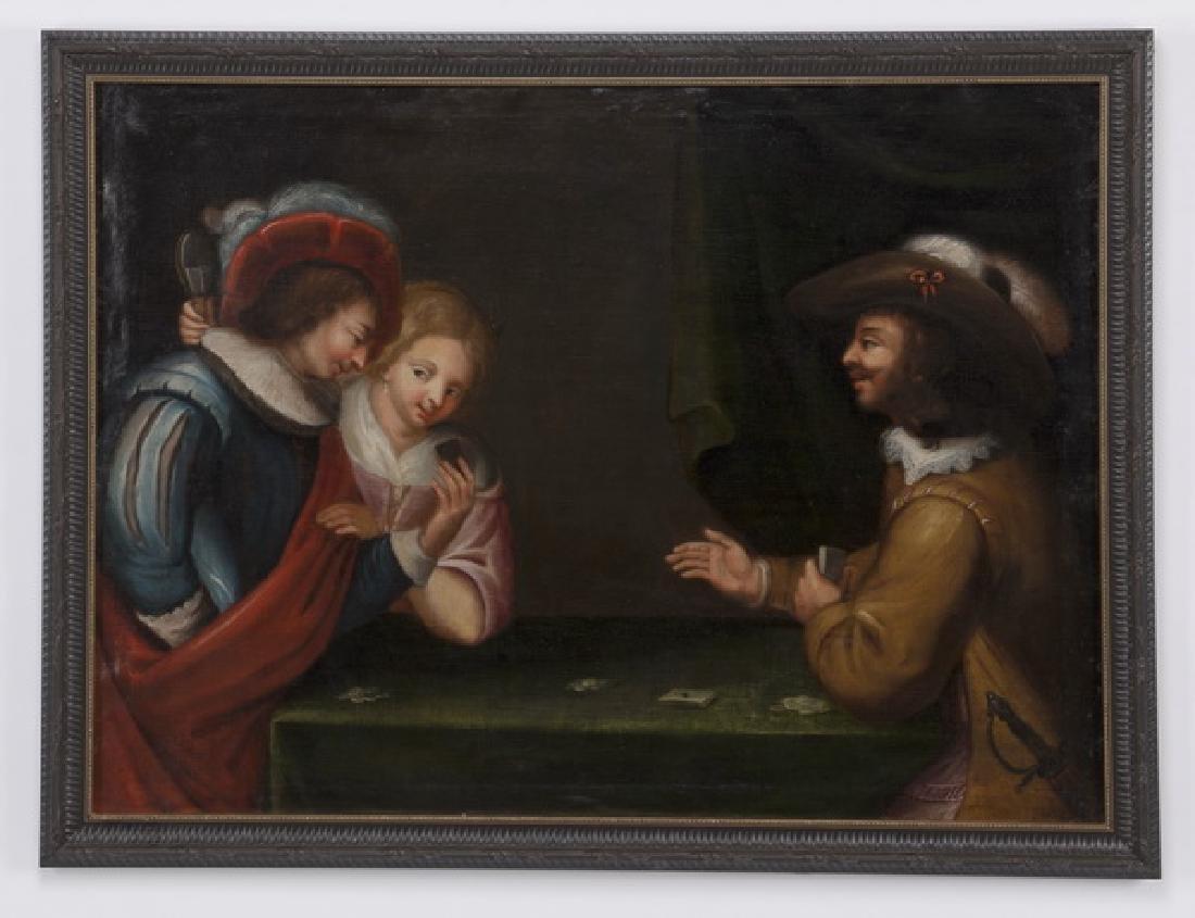 19th c. Dutch School, Baroque style card game scene