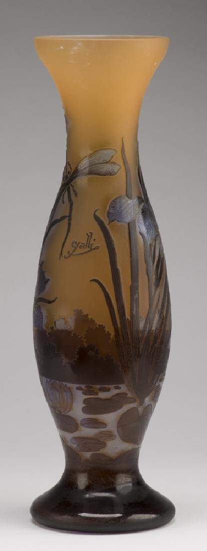 """Contemporary Galle' style cameo glass vase, 20""""h"""