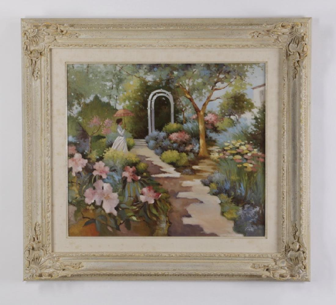 """Lugano Candi signed O/c of a woman in a garden, 41.5"""""""