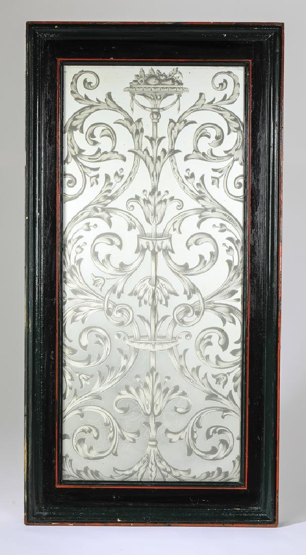 Acid etched mirrored panel with scrolling acanthus