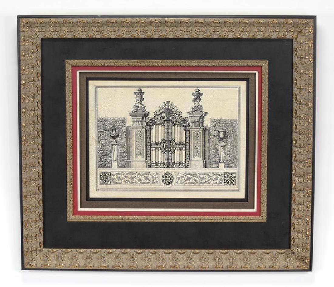 Framed architectural print titled 'Grand Garden Gate'
