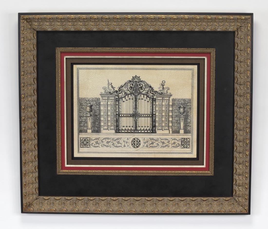 Framed architectural print, 'Grand Garden Gate II'