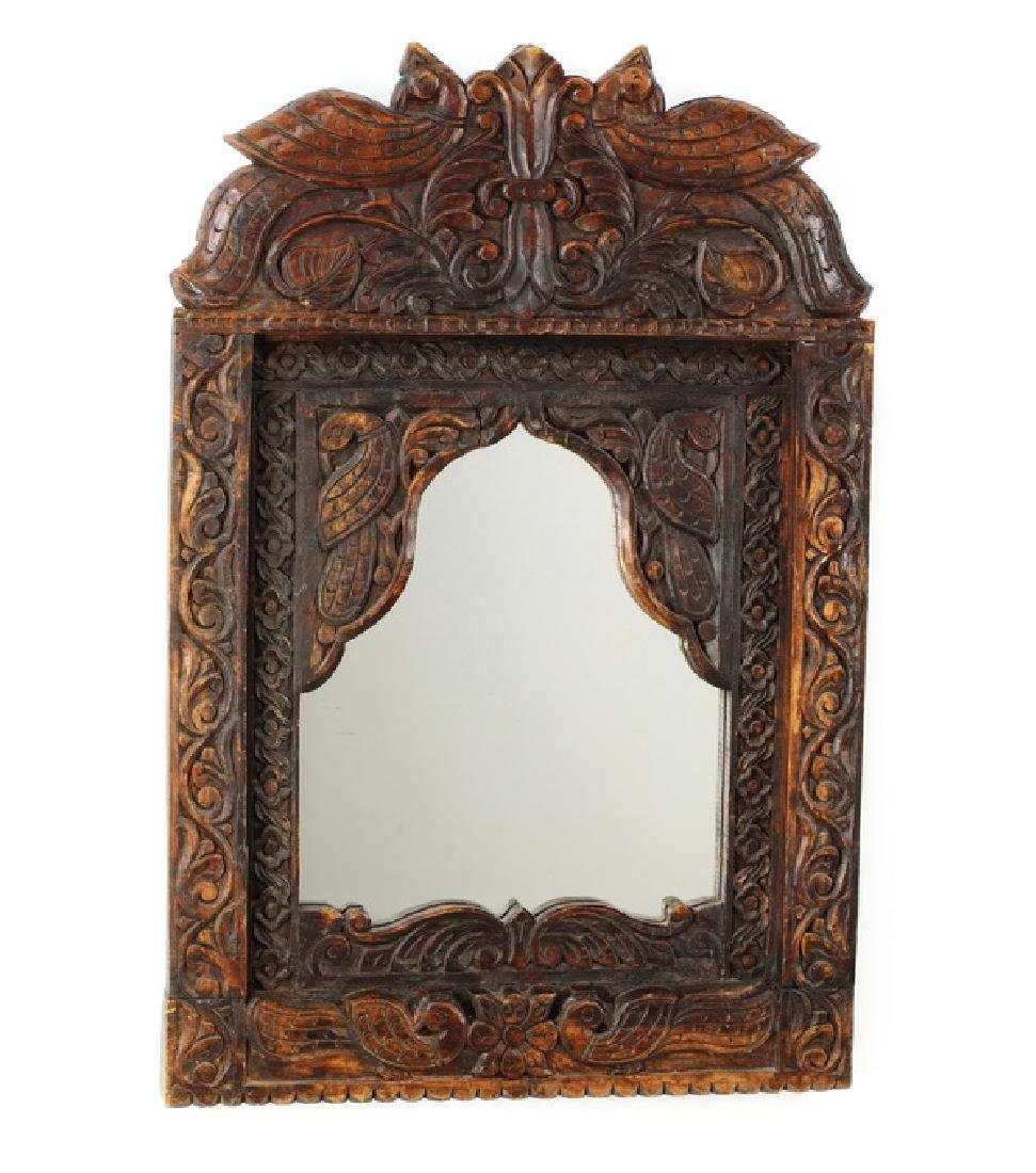 "Carved Indian style hardwood mirror w/birds, 36""h"