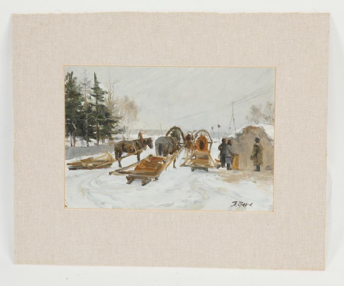 Midcentury Russian O/card titled 'Winter Season'