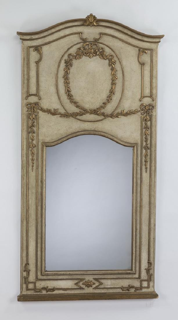 Neoclassical style paint decorated,parcel gilt mirror
