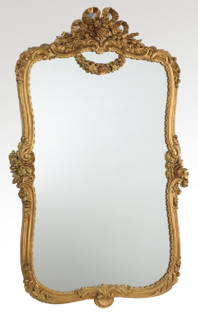 Oversized 19th c. French Rococo style giltwood mirror