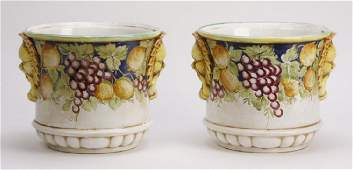 "(2) Italian hand painted ceramic cachepots, 15""w"