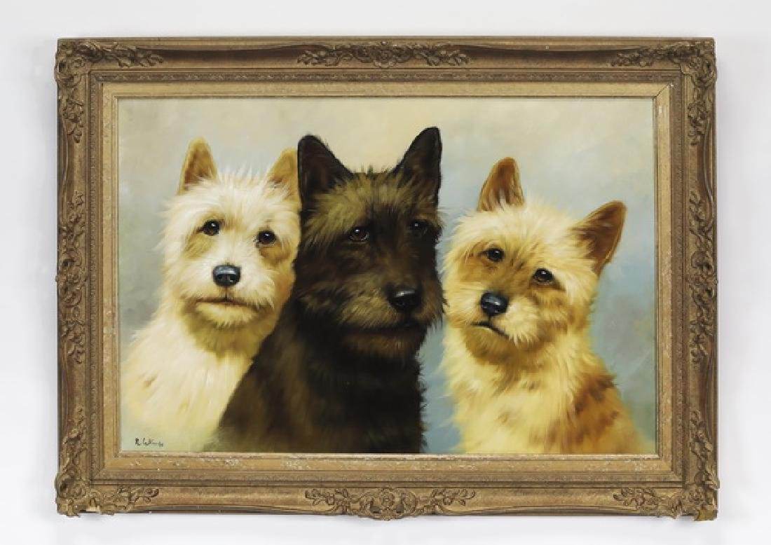 Continental O/c of three terriers, signed Le Blanche