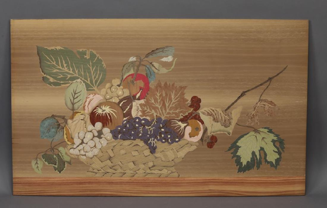 Italian polychrome marquetry panel w/ basket of fruit