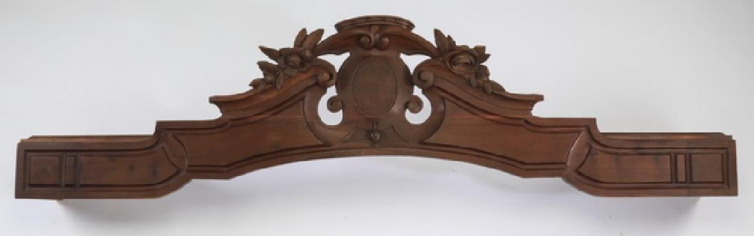 19th c. arched and carved architectural crest
