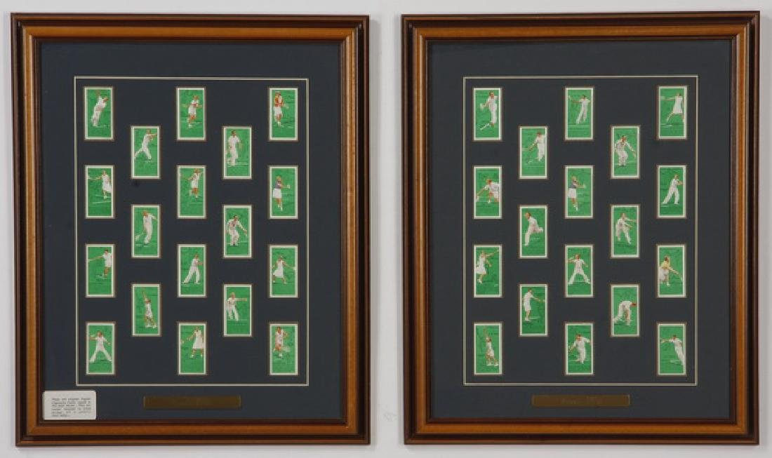 Framed collection, British cigarette cards, 'Tennis'