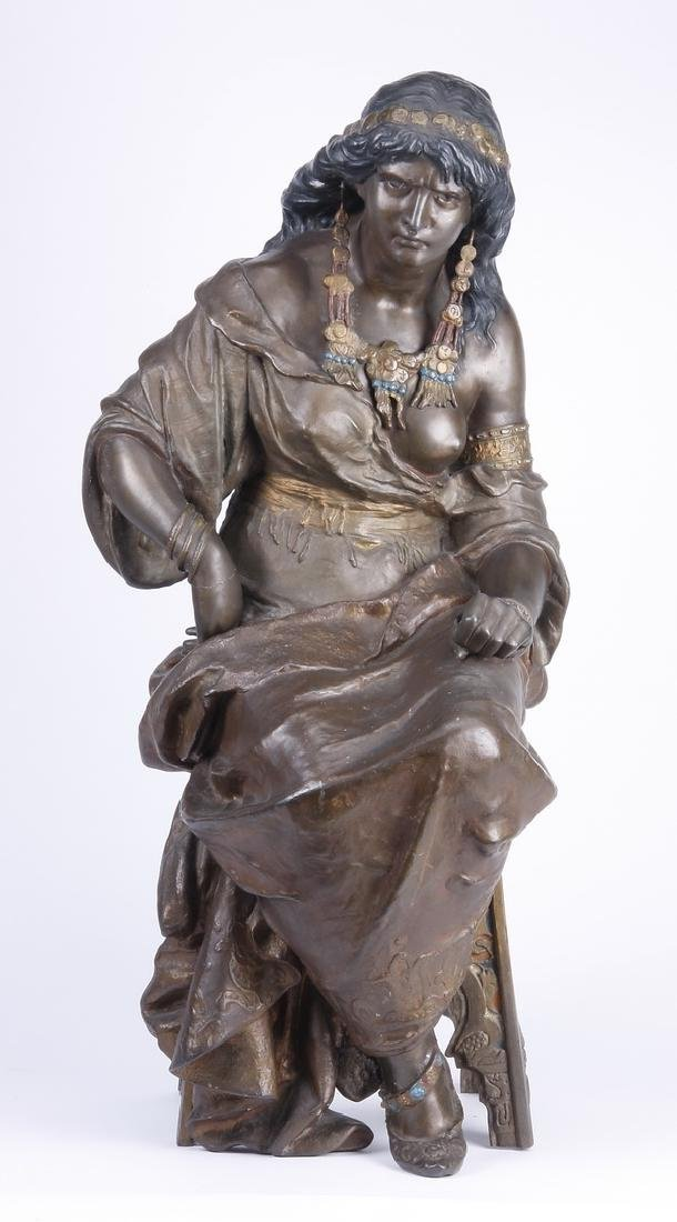 19th c. Orientalist sculpture of seated harem beauty