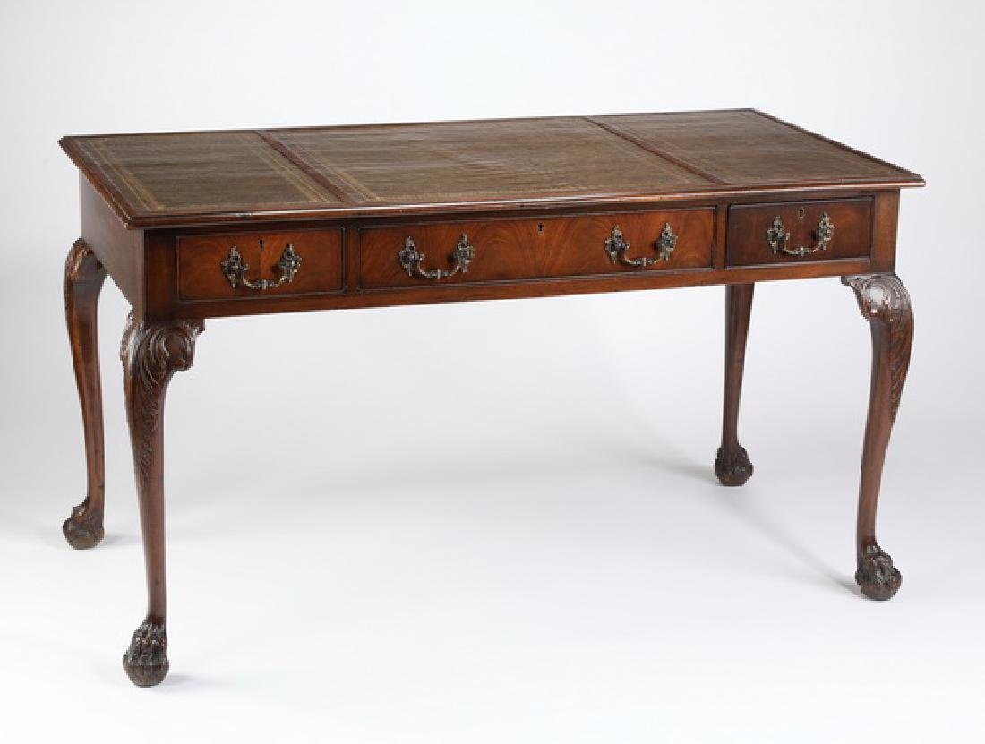 Georgian style mahogany desk with leather top