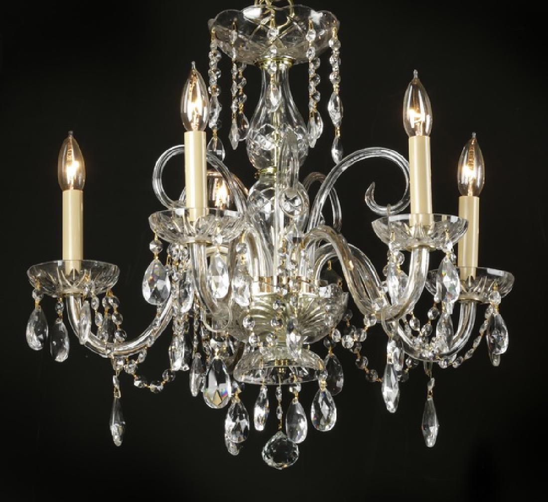 "Continental 5-arm crystal chandelier, 20""h"