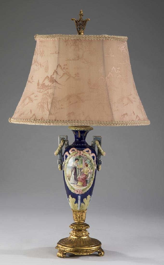 """Neoclassical style hand painted majolica lamp, 21""""h"""