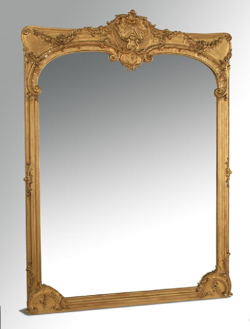 19th c. French Rococo style gilt wood & gesso mirror