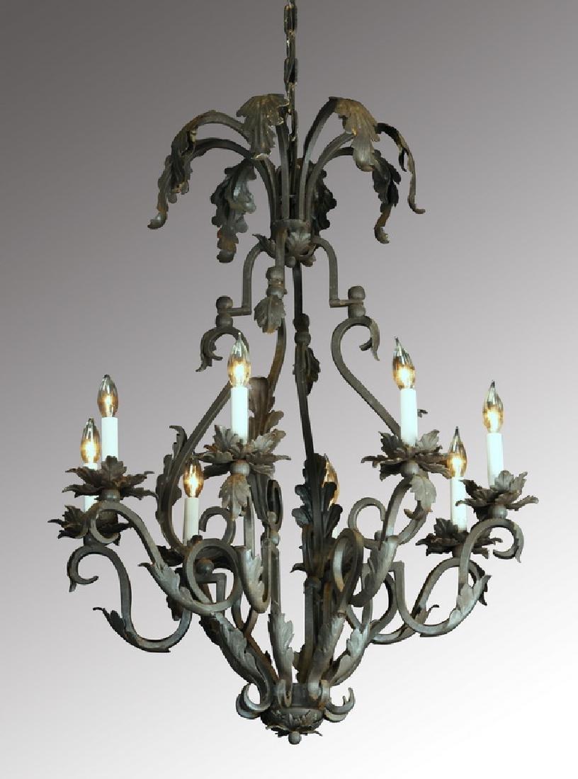 "Wrought iron 8-light chandelier, 56""h"
