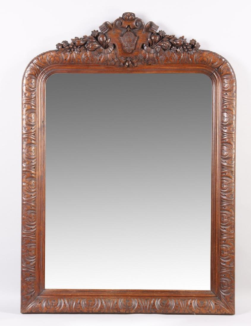 """19th c. French carved oak overmantel mirror, 62""""h"""