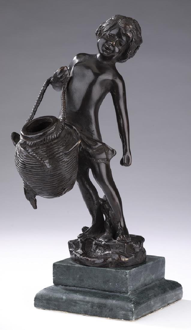 "Bronze figure of a boy carrying a water jug, 10""h"