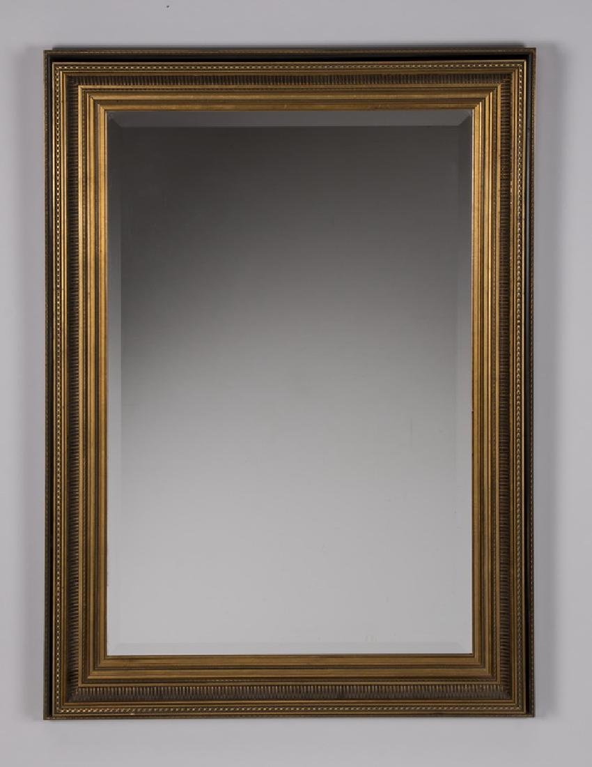 "Neoclassical style black & gold framed mirror, 43""h"