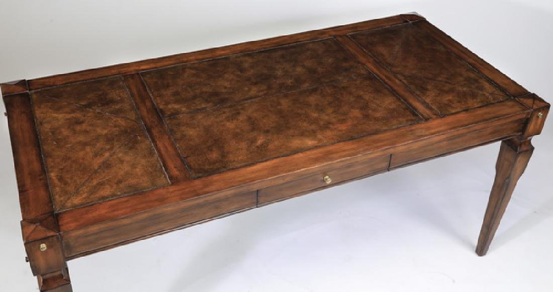 Federal style mahogany writing desk w/ leather top - 4